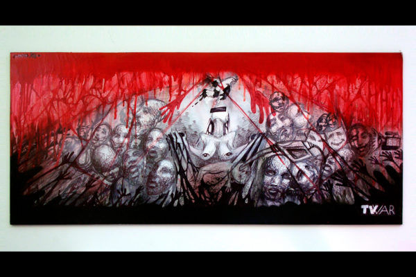 SUSO33 TV War (Guernica) Sketch. Spray on board